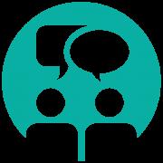 Icon Gesprächssituation (türkis): Professionelle Beratung